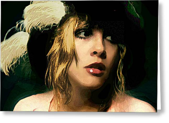 Greeting Card featuring the painting Fine Art Digital Portrait Stevie Nicks Wearing Beret by G Linsenmayer