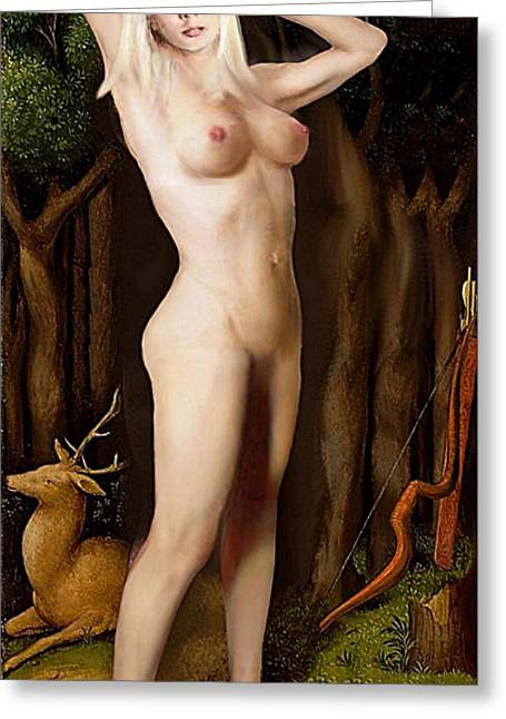 Greeting Card featuring the painting Fine Art Female Nude Niki Goddess Diana Standing Multimedia Painting by G Linsenmayer