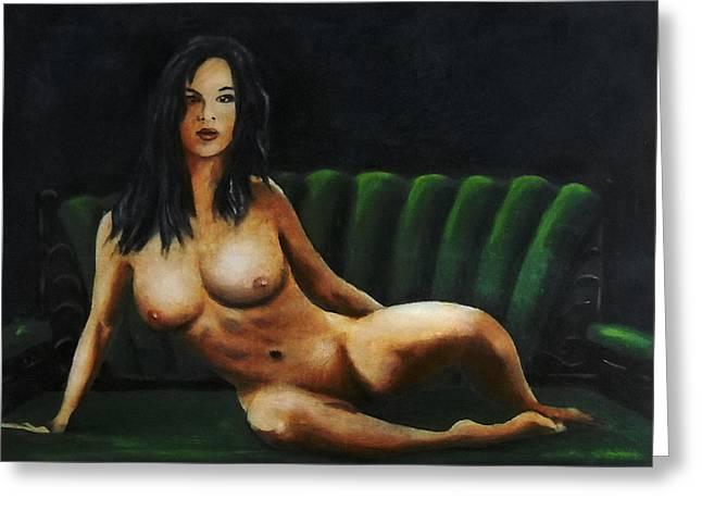 Fine Art Female Nude Sara Seated 2011 Greeting Card