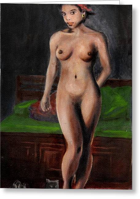 Fine Art Female Nude Standing With Cats Greeting Card