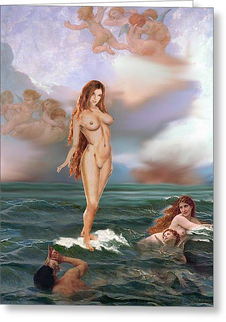 Fine Art Female Nude Tasha As Goddess Aphrodite Greeting Card by G Linsenmayer