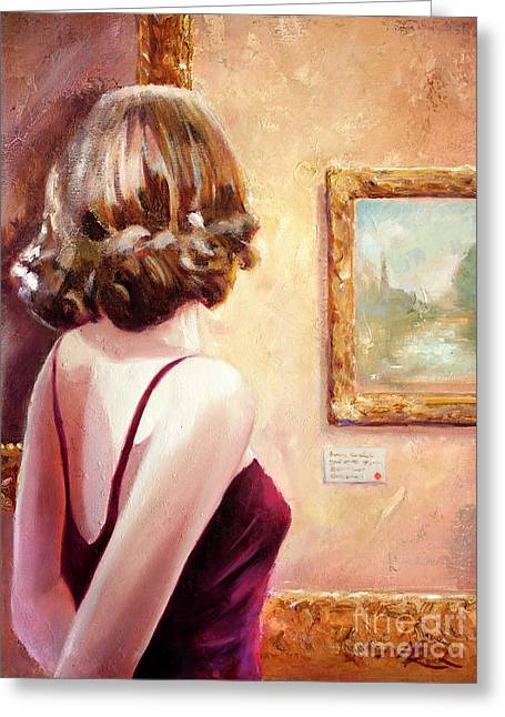 Fine Art Gallery Opening Night Greeting Card by Michael Rock
