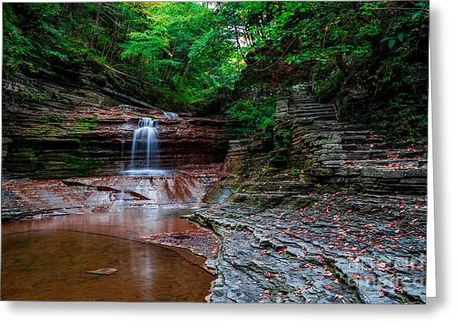 Small Waterfall At Buttermilk Falls In Ithaca, Ny. Greeting Card by Scott Chimber