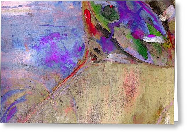 Fine Art Martini With Olive On The Beach Abstract Painting Greeting Card