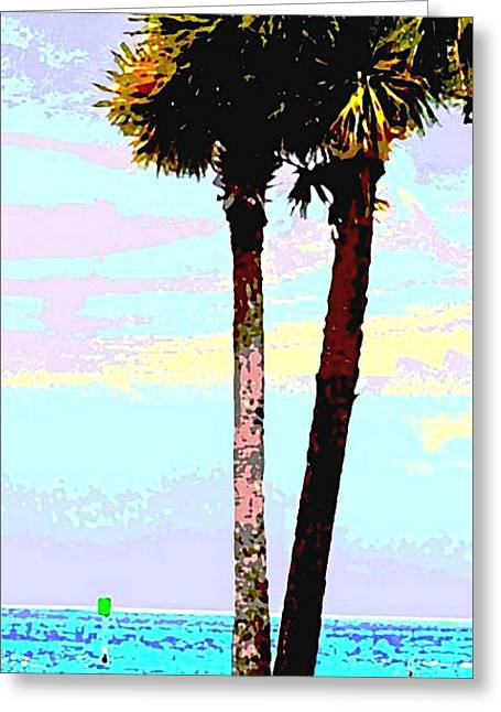 Greeting Card featuring the painting Fine Art Palm Trees Gulf Coast Florida Original Digital Painting by G Linsenmayer
