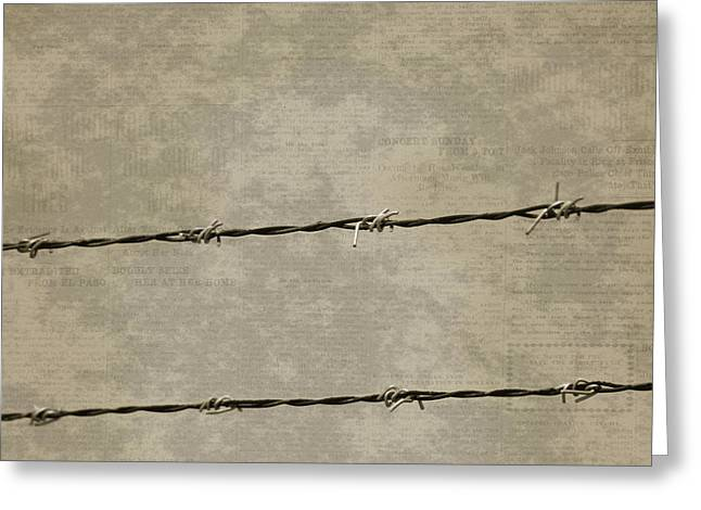 Fine Art Photograph Barbed Wire Over Vintage News Print Breaking Out  Greeting Card