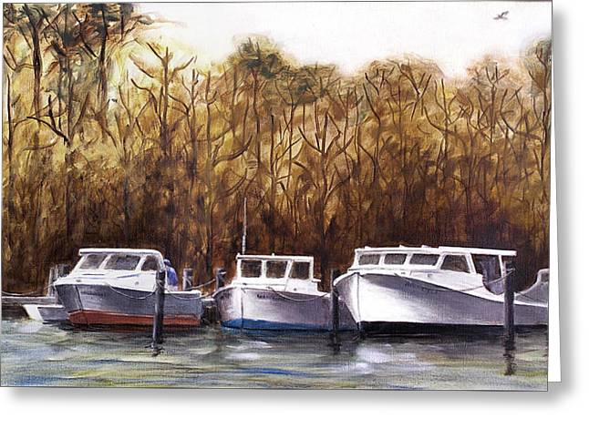Fine Art Traditional Oil Painting 3 Workboats Chesapeake Bay Greeting Card