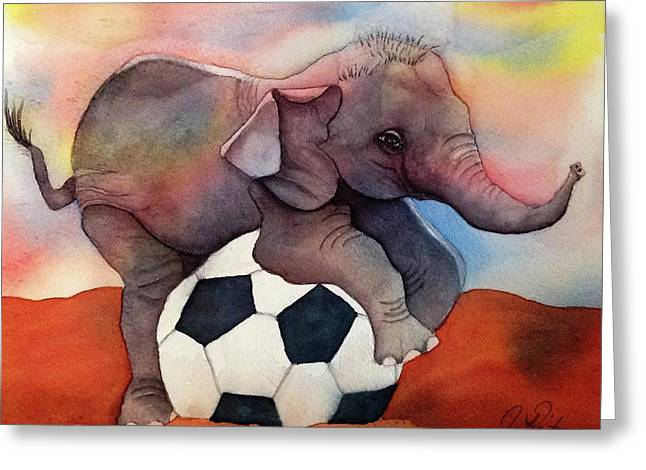 Fine Art, Watercolor, Elephant Baby On Soccer Ball, Playing. Greeting Card by Janice Raitano