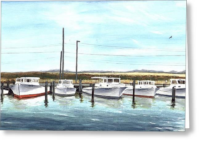 Fine Art Workboats Kent Island Chesapeak Maryland Original Oil Painting Greeting Card