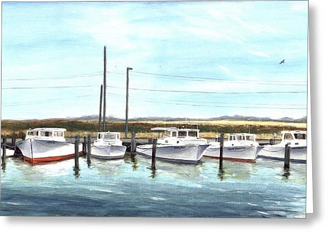 Greeting Card featuring the painting Fine Art Workboats Kent Island Chesapeak Maryland Original Oil Painting by G Linsenmayer
