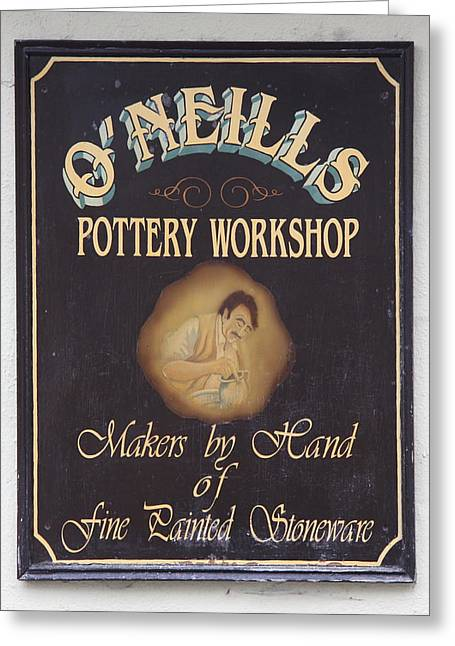 Fine Painted Stoneware - Pottery Sign Greeting Card by Christiane Schulze Art And Photography