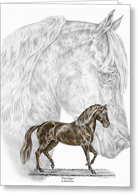 Gaiting Greeting Cards - Fine Steps - Paso Fino Horse Print color tinted Greeting Card by Kelli Swan
