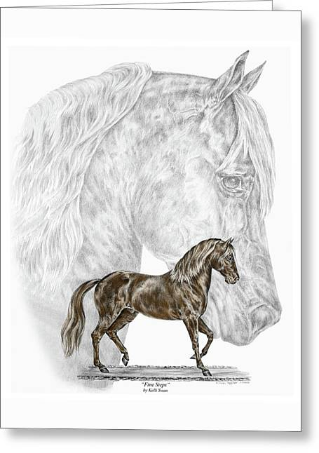 Fine Steps - Paso Fino Horse Print Color Tinted Greeting Card by Kelli Swan