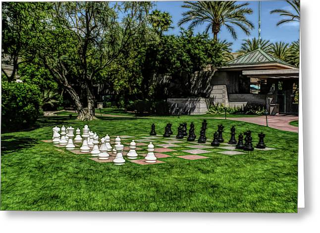 Greeting Card featuring the photograph Fine Wine Cafe Chess At The Biltmore by Aimee L Maher Photography and Art Visit ALMGallerydotcom