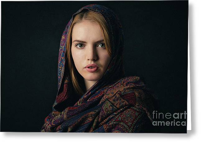 Fineart Portrait Of A Beautiful Young Blonde Woman With Scarf On Dark Background. Greeting Card
