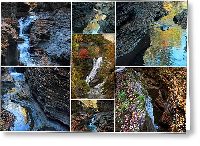 Finger Lakes Gorges Collage Greeting Card by Jessica Jenney