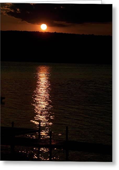 Finger Lakes New York Sunset 04 Vertical Greeting Card by Thomas Woolworth