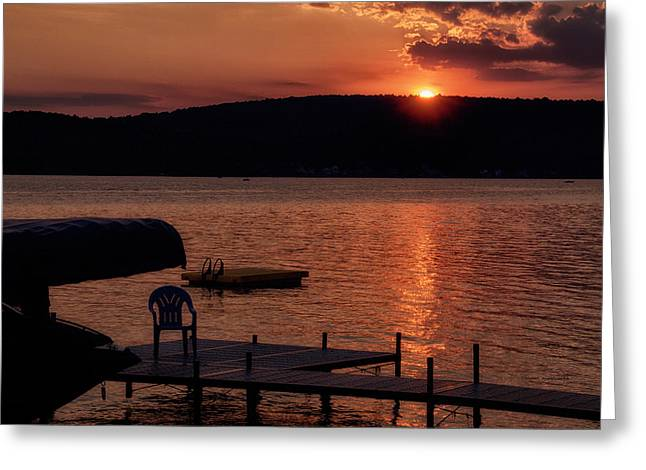 Finger Lakes New York Sunset By The Dock 01 Greeting Card by Thomas Woolworth