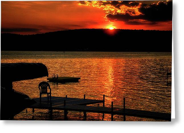 Finger Lakes New York Sunset By The Dock 03 Greeting Card by Thomas Woolworth
