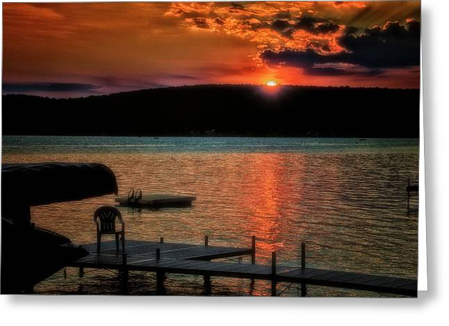 Finger Lakes New York Sunset By The Dock 04 Greeting Card