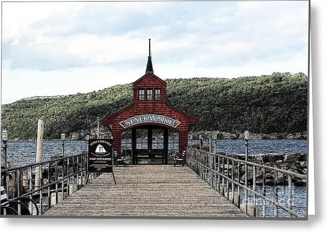 Finger Lakes Watkins Glen Seneca Lake Pier House Ink Sketch Effect Greeting Card