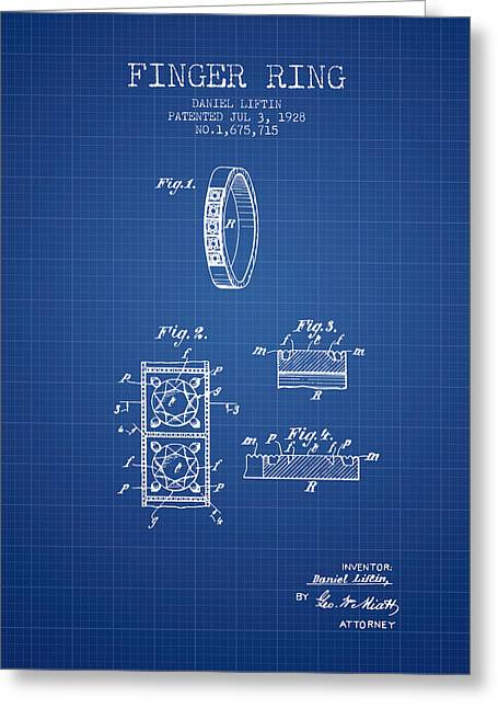 Finger Ring Patent From 1928 - Blueprint Greeting Card by Aged Pixel