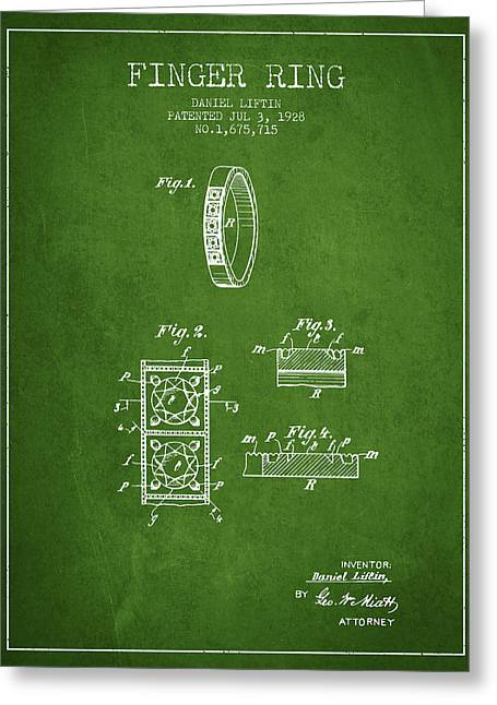Finger Ring Patent From 1928 - Green Greeting Card