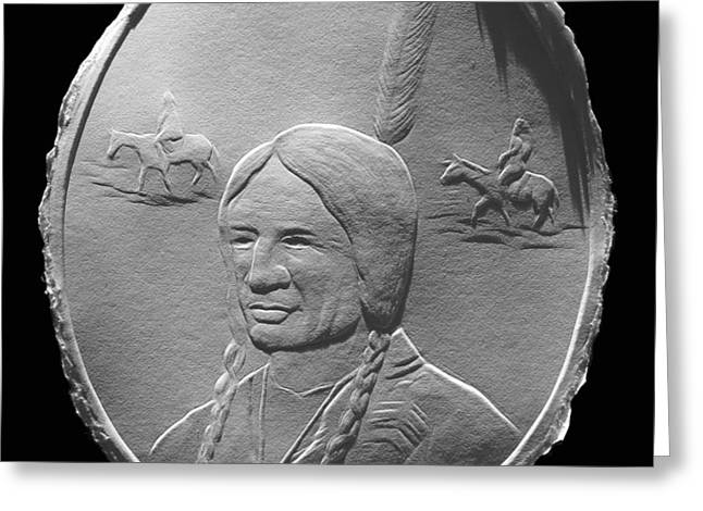 Greeting Card featuring the relief Fingernail Relief Drawing Of American Indian  by Suhas Tavkar
