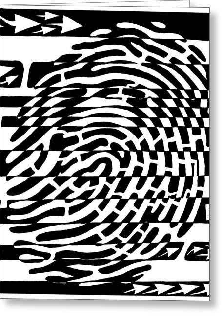 Fingerprint Scanner Maze Greeting Card by Yonatan Frimer Maze Artist