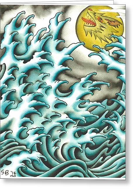 Fingerwaves Under A Wolf Moon Greeting Card by Scott Bohrer