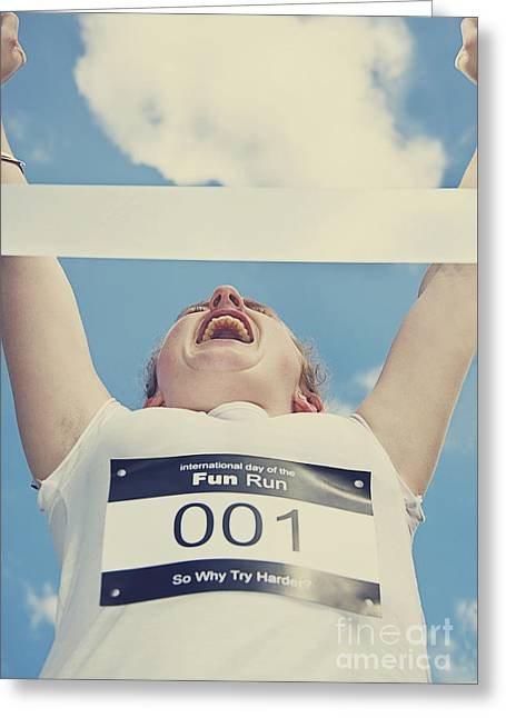 Finish Line Frontrunner Greeting Card by Jorgo Photography - Wall Art Gallery