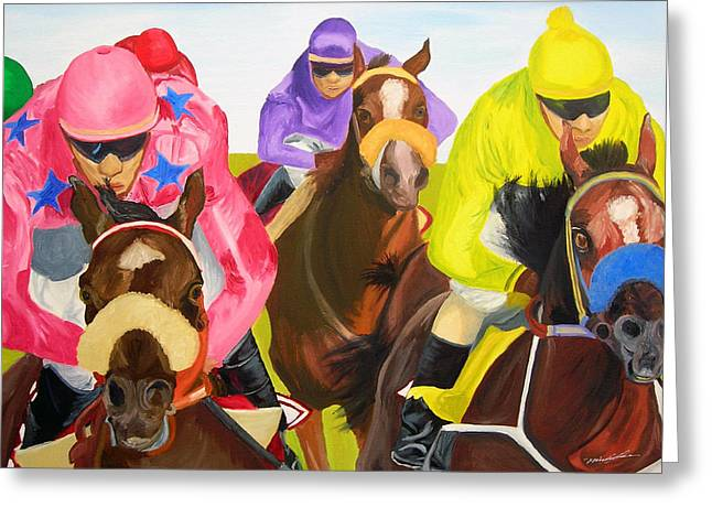 Finish Line Greeting Card by Michael Lee
