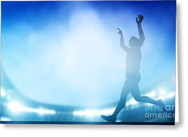 Finish Of The Run On The Stadium In Night Lights Greeting Card