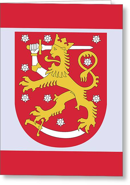 Greeting Card featuring the drawing Finland Coat Of Arms by Movie Poster Prints