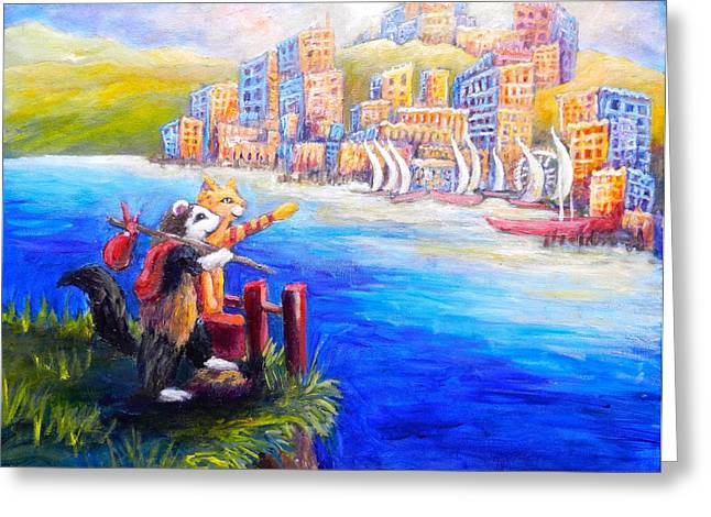 Finn And Hati Go To Town Greeting Card by Sebastian Pierre
