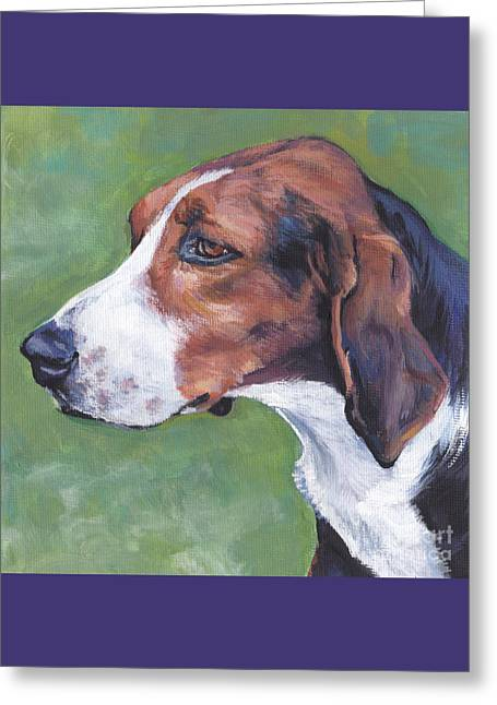 Greeting Card featuring the painting Finnish Hound by Lee Ann Shepard