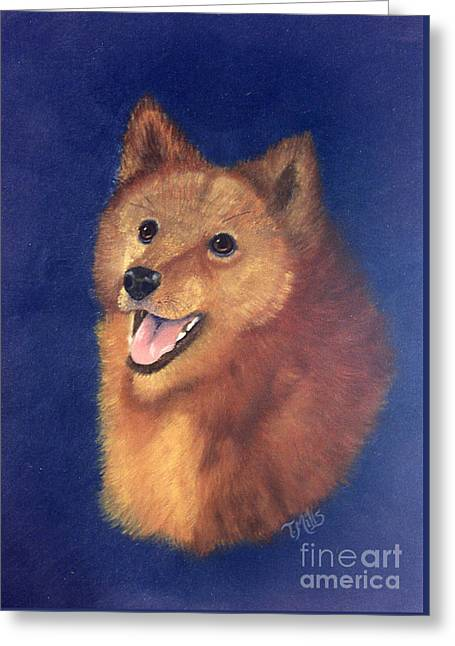 Greeting Card featuring the painting Finnish Spitz by Terri Mills