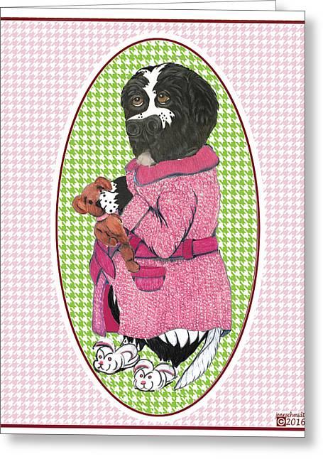 Finny's Pink Robe  Greeting Card by Jenn Schmidt