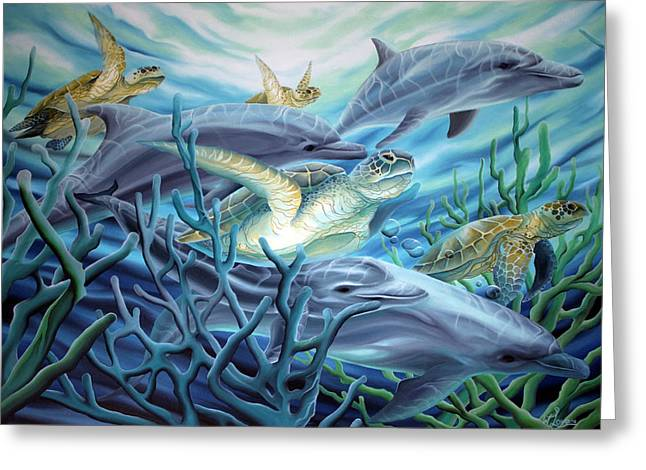 Greeting Card featuring the painting Fins And Flippers by William Love