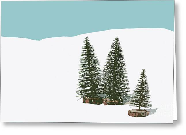 Fir Trees In The Snow Greeting Card by Wolf Kettler