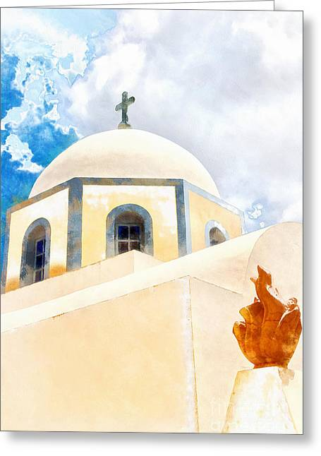 Fira Catholic Cathedral Digital Watercolour Painting Greeting Card by Antony McAulay