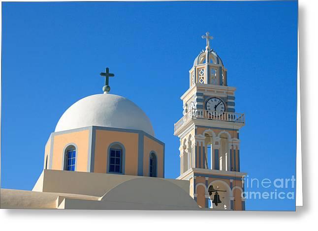 Fira Catholic Cathedral Horizontal Greeting Card by Paul Cowan