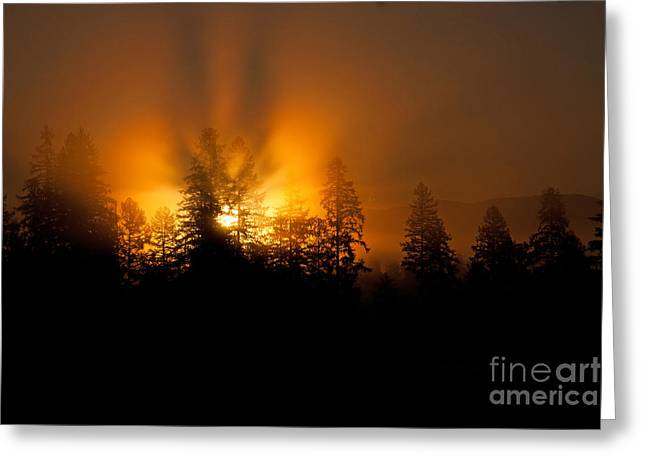 Fire And Fog Greeting Card