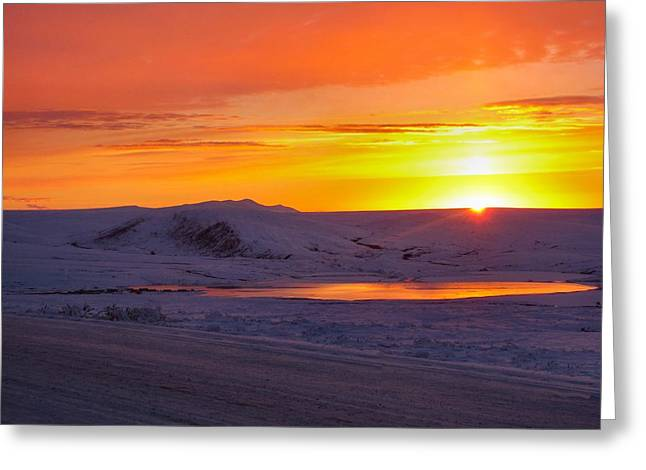 Fire And Ice Greeting Card by Adam Owen