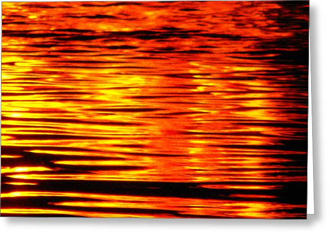 Fire At Night On The Water Greeting Card