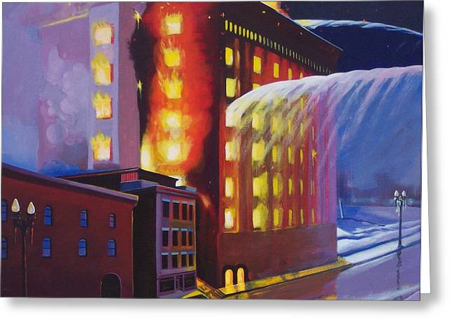 Fire At The Butternut Building Greeting Card by Bobbi Baltzer-Jacobo