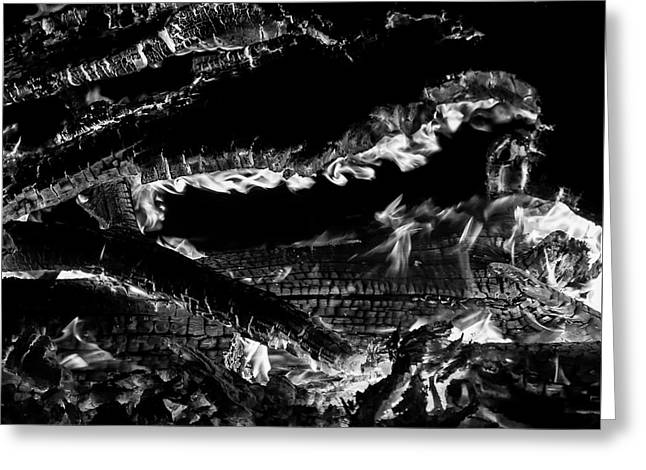 Greeting Card featuring the photograph Fire Black And White by Britt Runyon