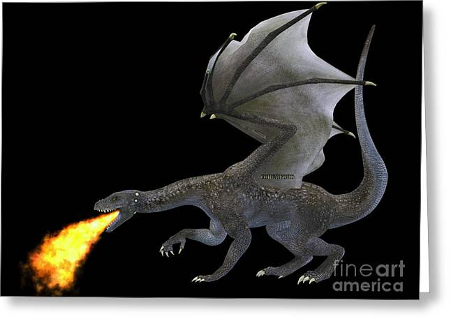 Fire Breathing Dragon Greeting Card by Corey Ford