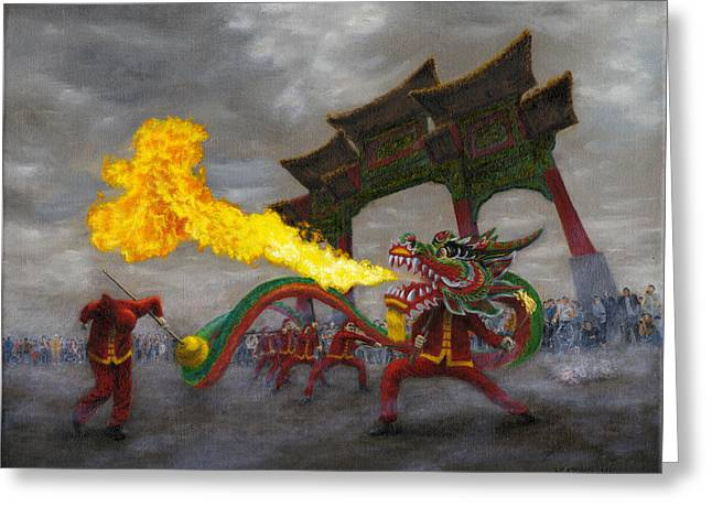 Fire-breathing Dragon Dancer Greeting Card