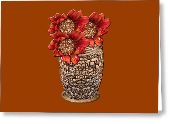 Fire Brick Flora Vase Greeting Card